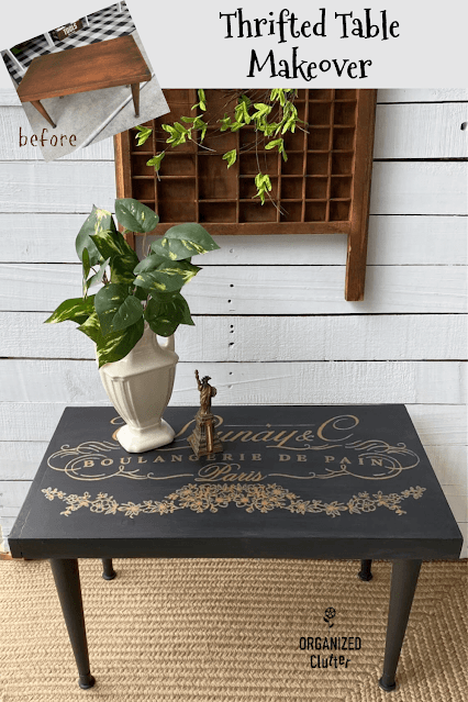 Photo of upcycled thrift shop coffee table.