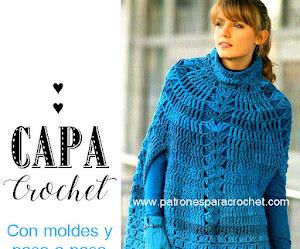 Capa crochet de lana gruesa para todos los talles