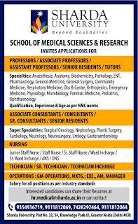 sharda university vacancy
