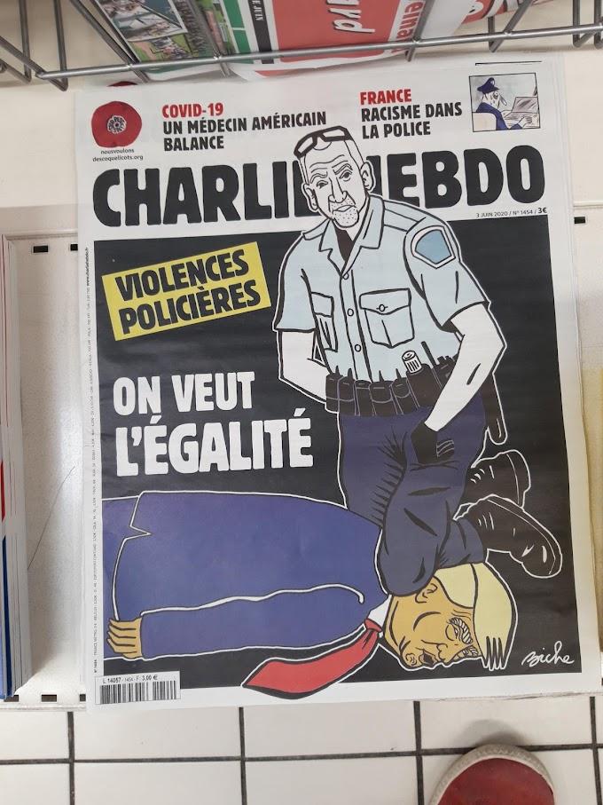 トランプ政権は窒息死というフランスの新聞の痛烈な風刺‼️