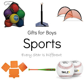 Sports themed gift ideas for boys.