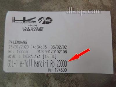 tarif tol Indralaya - Palembang = Rp.20.000,-