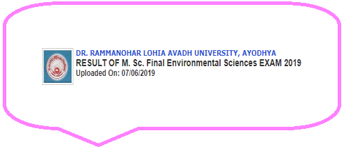 RMLAU M.Sc Final Environmental Science Result 2019