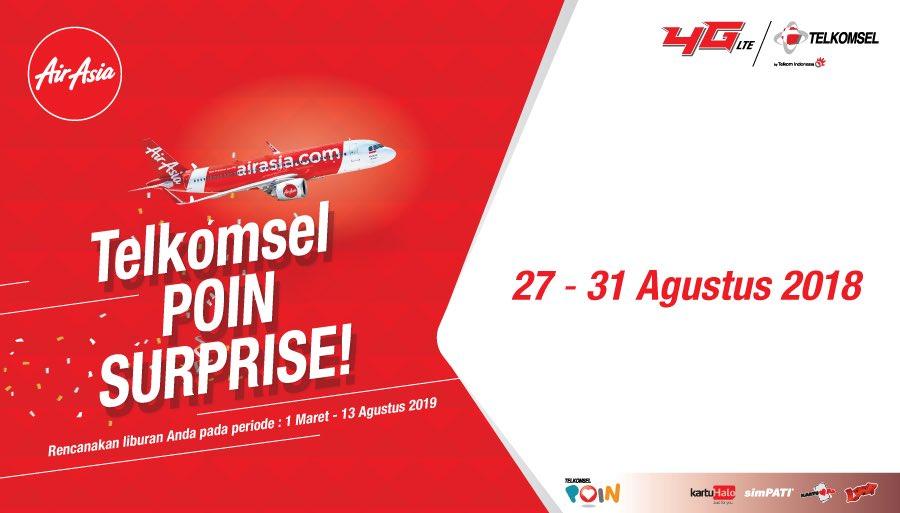 Telkomsel - Promo Telkomsel Poin Surprise Bersama Air Asia (s.d 31 Agustus 2018)