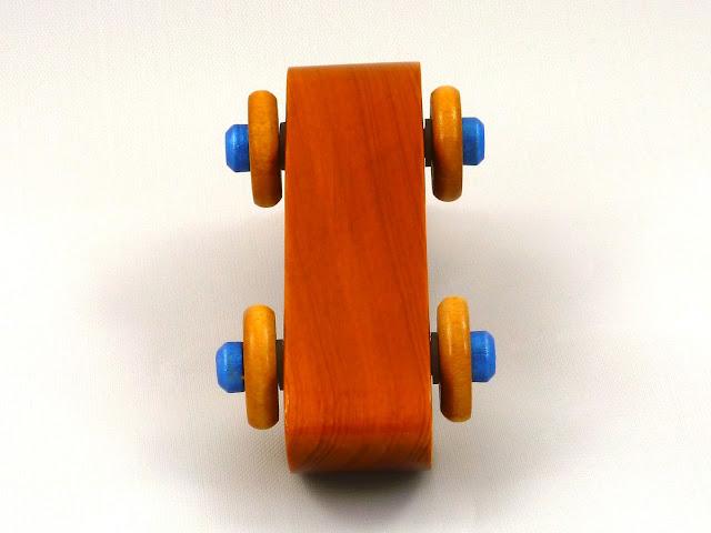Handmade Wooden Toy Play Pal Bat Car / Batmobile Amber and Metallic Blue