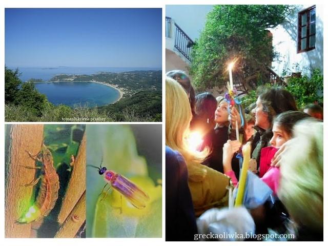 Świetliki. Ludzie z paschałami w ręku. Grecka Zatoka błękitne morze i niebo. Korfu Grecja.