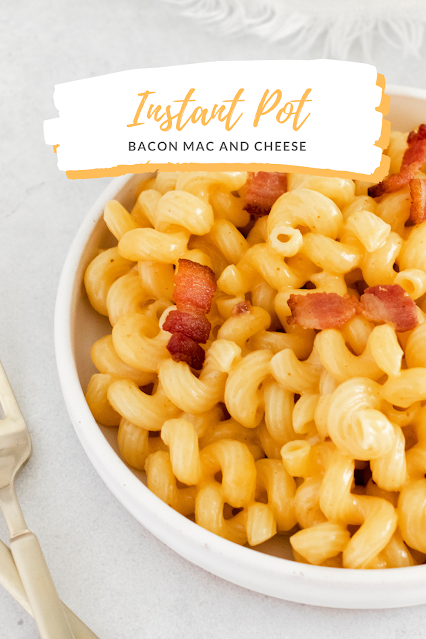 Mac and cheese in a bowl with text for pinterest