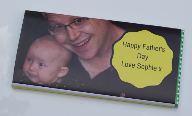 A chocolate bar with a personalised Father's Day wrapper