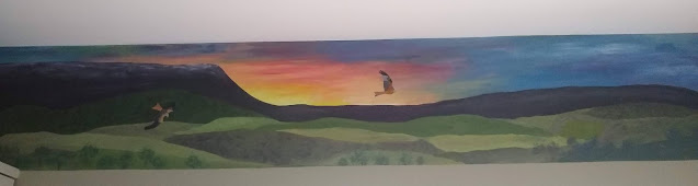 Lanscape, mural, painting, kites, hay bluff