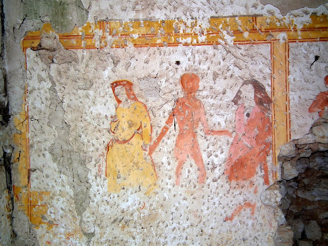 Part of a rare danse macabre wall painting showing women, Indre et Loire, France. Photographed by Susan Walter. Tour the Loire Valley with a classic car and a private guide.