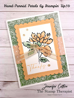 This thanks card uses Stampin' Up!'s Hand-Penned Petals Bundle (plus Hand-Penned DSP Designer Paper, Scalloped Contours Dies, Pale Papaya Open Weave Ribbon, & Genial Gems).  I made this card on my weekly Facebook Live.  Supply list and measurements on the blog (with link to YouTube video).  #StampinUp #StampTherapist #HandPennedPetals