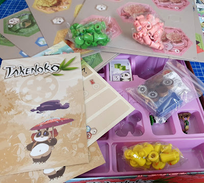 Takenoko family game box contents need 5 minutes to press out tokens before play