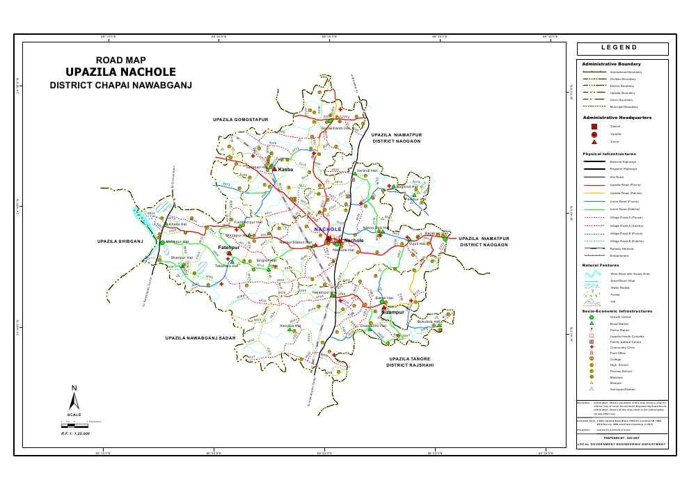 Nachole Upazila Road Map Nawabganj District Bangladesh