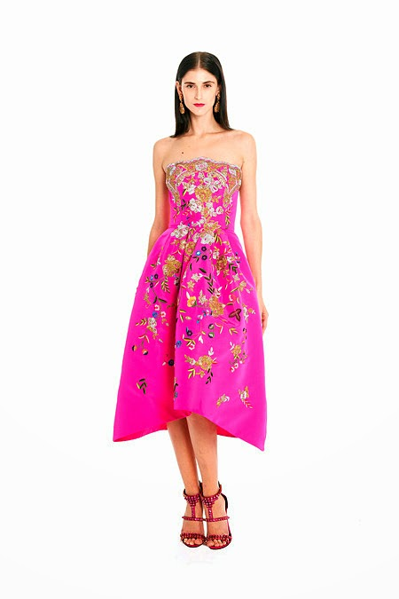 7f4f9ab026 Hot pink silk faille dress with gold and silver buillion filigree and multi  color flower embroidery