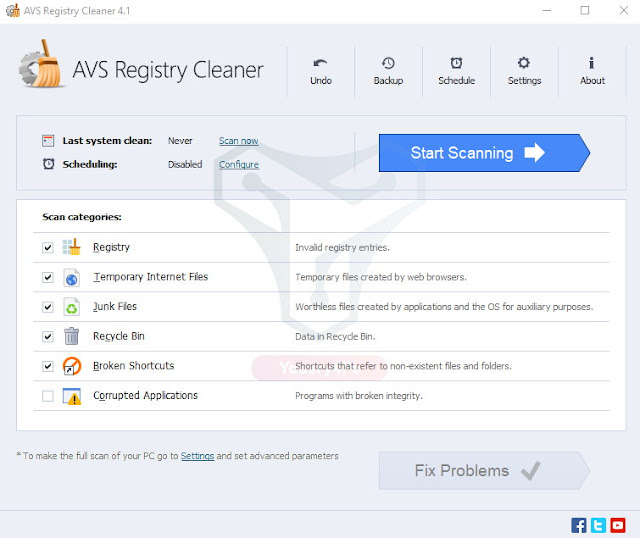 برنامج AVS Registry Cleaner