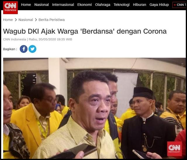 KONTROVERSI Wakil Gubernur DKI 'Berdansa' dengan Corona