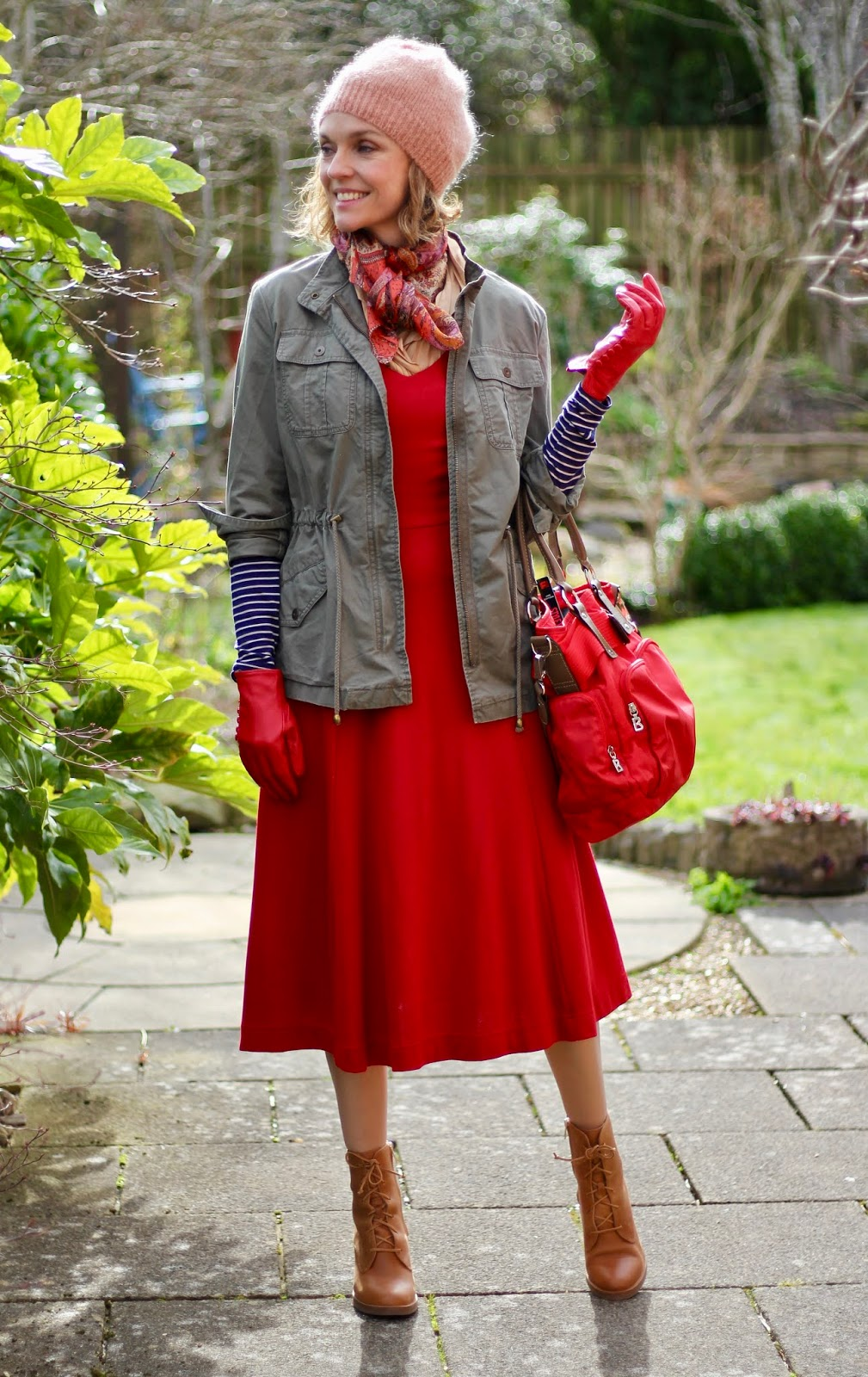 Red midi dress, khaki jacket & tan boots | Spring street style | Fake Fabulous