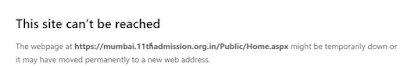 11thadmission.org.in cant be reached