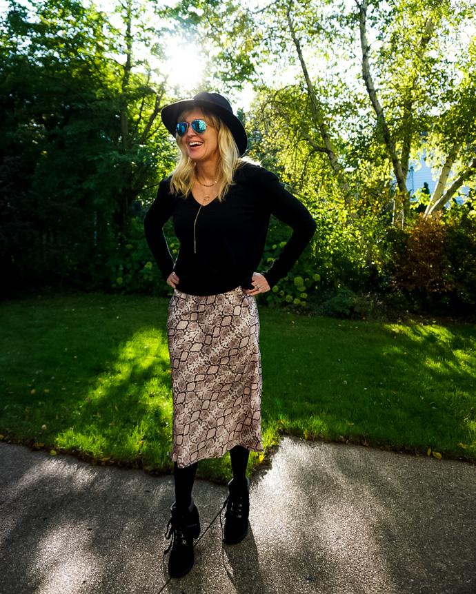 Snakeskin Midi Skirt