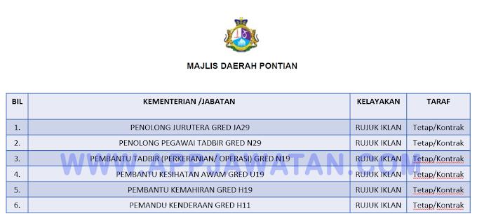 Jawatan Kosong Terkini di Majlis Daerah Pontian (MDP).