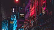 Night in Hong Kong street wallpaper