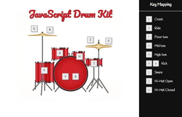 javascript drum kit | javascript drum machine | javascript drum kit using html css javascript