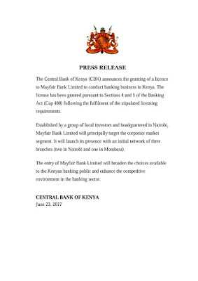 CBK gives license to Mayfair Bank