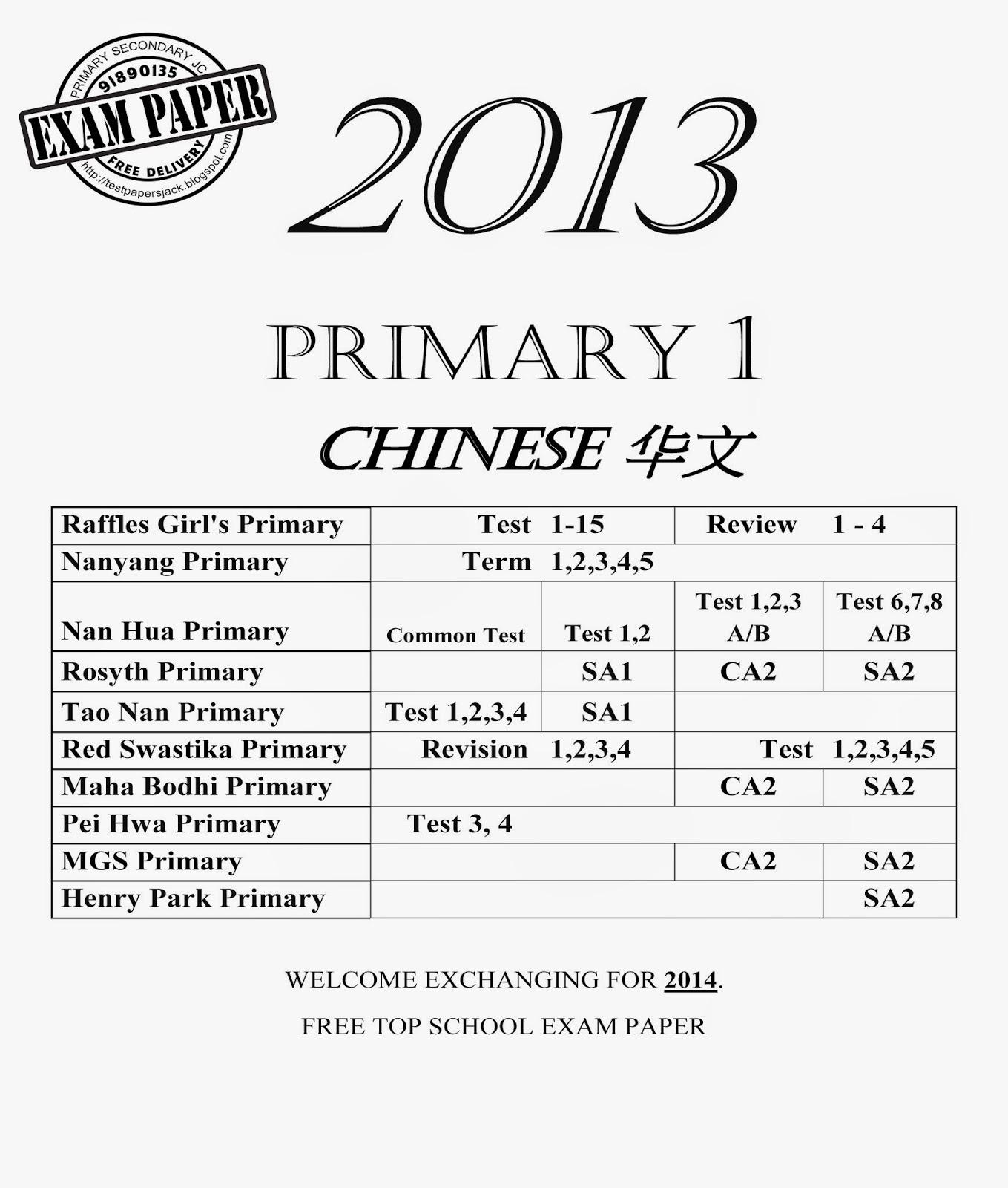 Exam Paper EXAM PAPER Exam Paper : Primary 1 ( Special