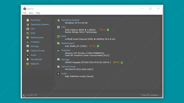 cek spesifikasi laptop aplikasi speccy