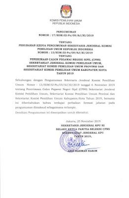 Surat Pengumuman Perbaikan Formasi Jabatan CPNS KPU 2019 Cecep Husni Mubarok