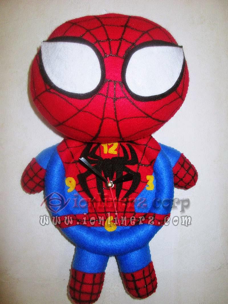 Jam Dinding Flanel Karakter Kartun Boneka Spiderman