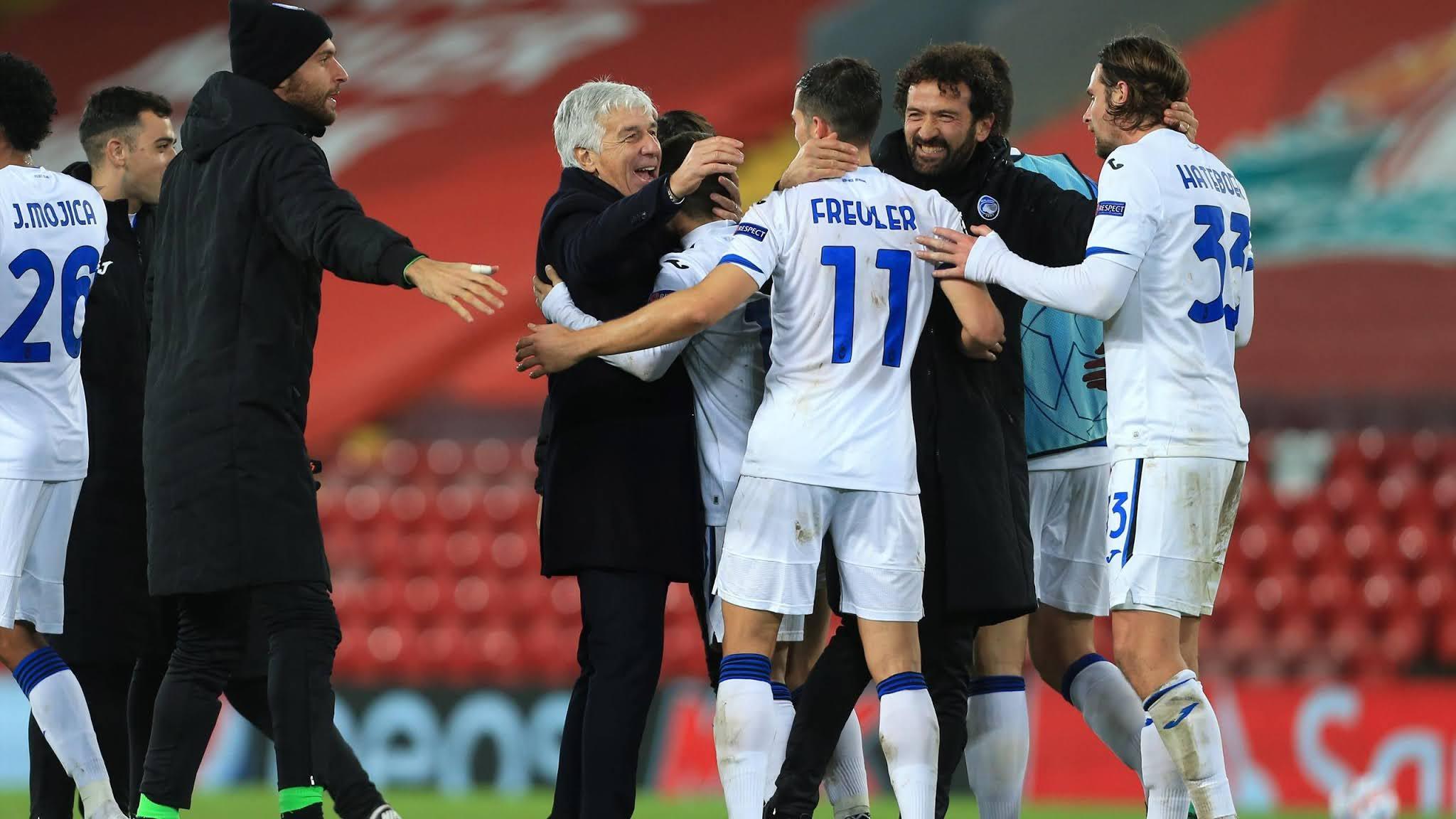 Gian Piero Gasperini celebrates in 2-0 win against Liverpool