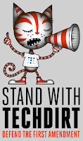 Stand with Techdirt cartoon with Techdirt logo t-shirt