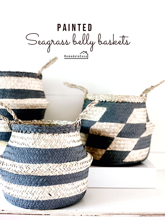 painted stripes on seagrass baskets