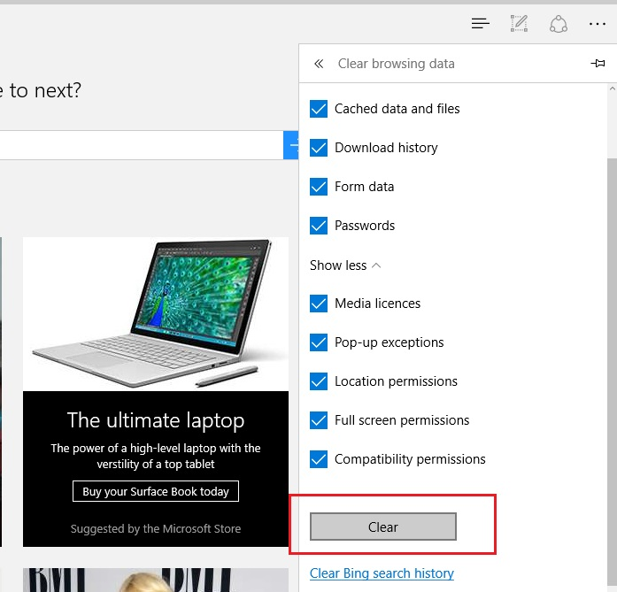 how to clear browser data in microsoft edge