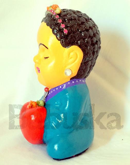 """Buda """"Frida Kahlo"""", pintado y laqueado a mano (B1019) Babuska"""