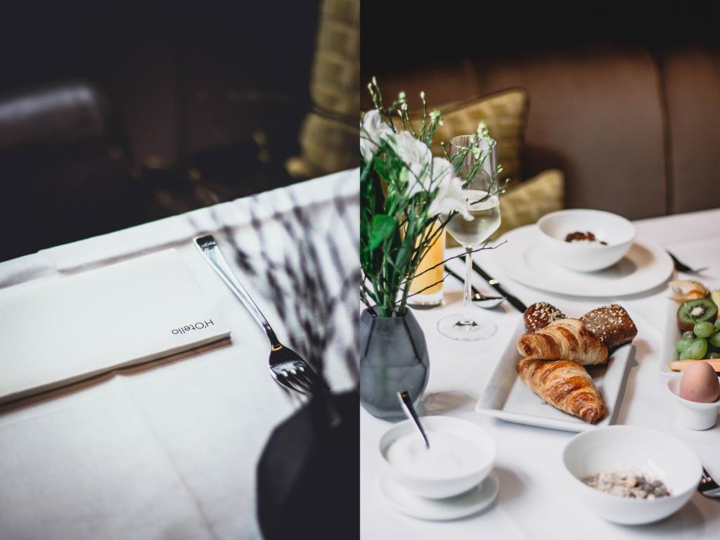 Tischdetails und Frühstück
