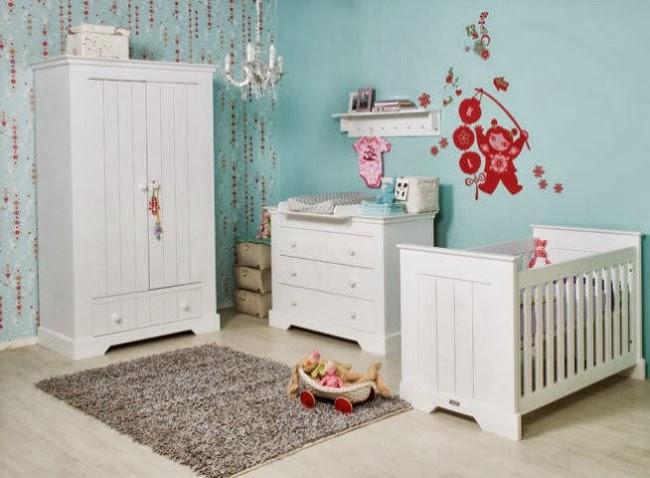 Dormitorios para beb en blanco y turquesa dormitorios for Pegatinas dormitorio bebe