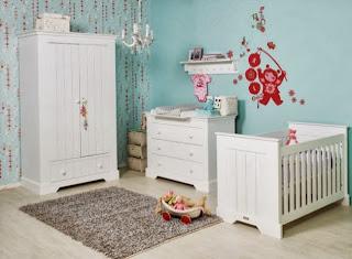 Habitación bebé blanco turquesa