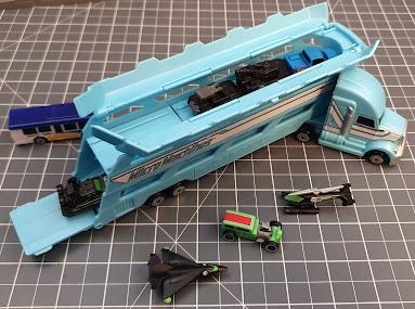 Micro Machines Hauler vehicle transporter with cargo