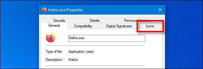 """في نافذة EXE Properties على نظام التشغيل Windows 10 ، انقر فوق علامة التبويب IconViewer """"Icon"""" الخاصة."""