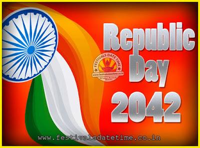 2042 Republic Day of India Date, 2042 Republic Day Calendar