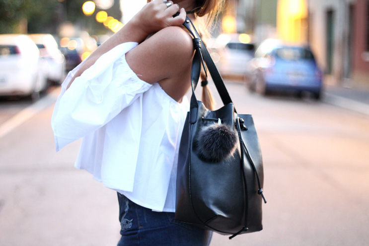 bucket bag and pom pom
