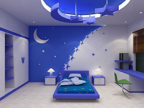 3d stars and moon false ceiling designs