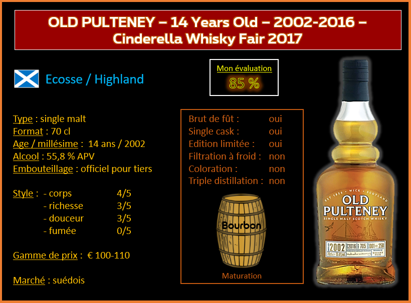 Review #617 : Old Pulteney – 14 Years Old – 2002-2016 – Cinderella Whisky Fair 2017