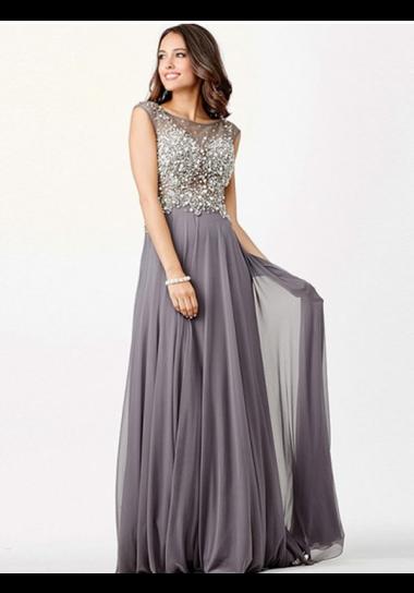 A-line Scoop Floor-length Chiffon Prom Dresses/Evening Dresses