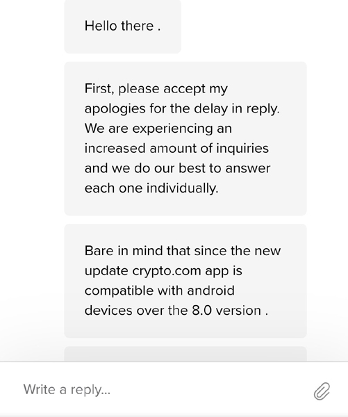 The pathetic answer that Crypto.com's customer service provided through Twitter on how to regain access to its app without unnecessarily spending money to do so.