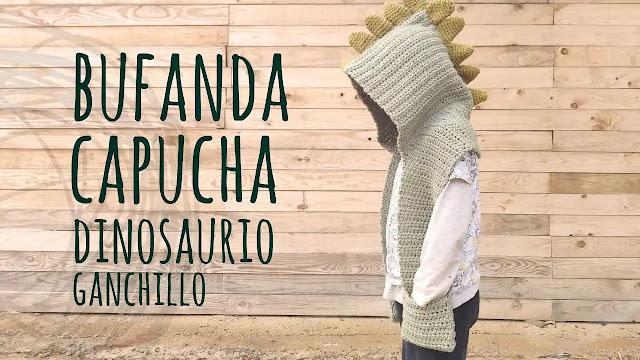 Tutorial Bufanda Capucha Dinosaurio para Niños a Crochet