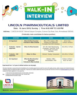 Lincoln Pharma Walk in interview