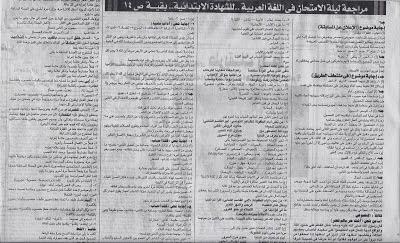 للمحافظات اللى لسة ممتحنتشي محلق الجمهورية ينشر اسئلة متوقعة لامتحان لغة عربية الصف السادس ترم2_2015 Www.modars1.com_l3